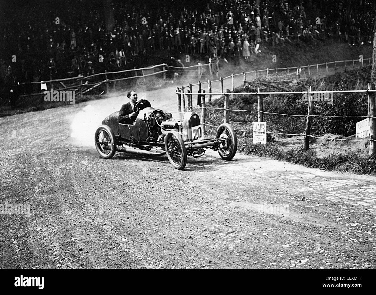 Raymond Mays in A.C. Supercharged at speed during Shelsley Walsh event 1925 - Stock Image