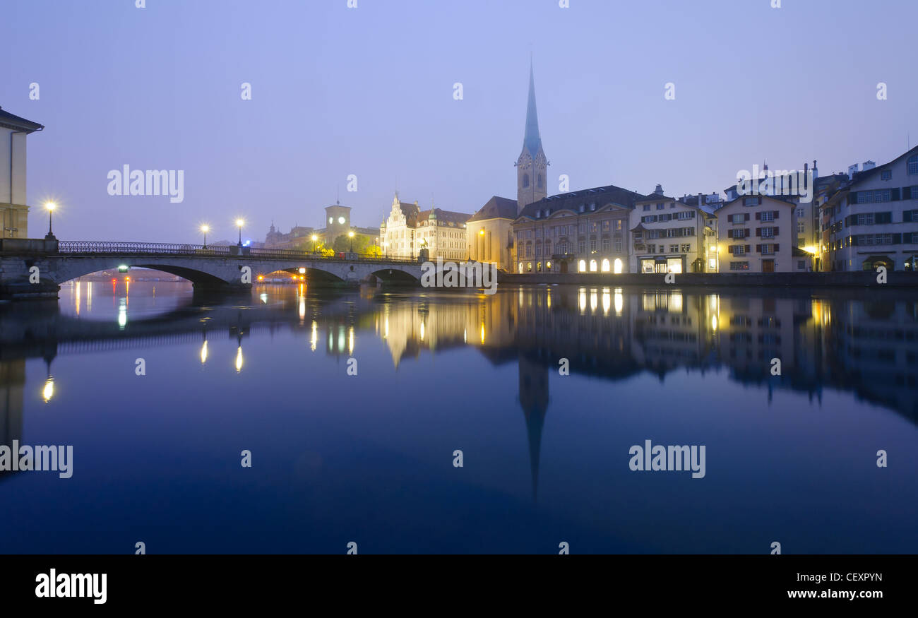 Zurich at night - Stock Image