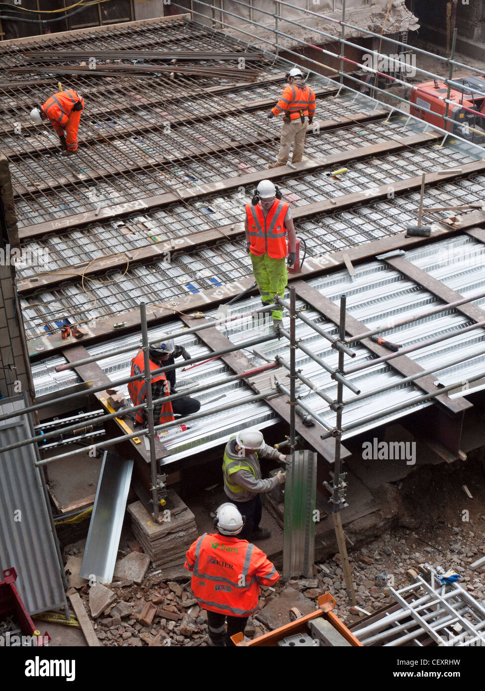 Construction workers at the Crossrail site at Moorgate, London - Stock Image