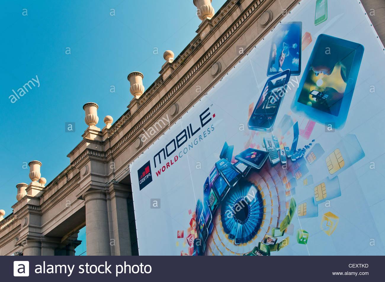 Mobile World Congress exhibition, Trade Fair, Barcelona, Catalonia, Spain - Stock Image