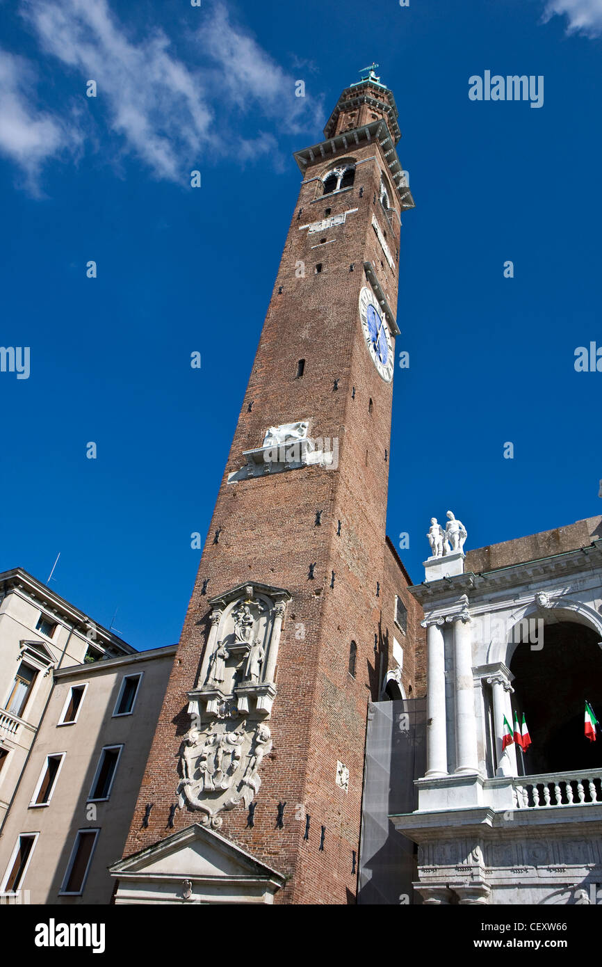 Architecture of the Tower of Basilica Palladiana in Vicenza, Italy - Stock Image