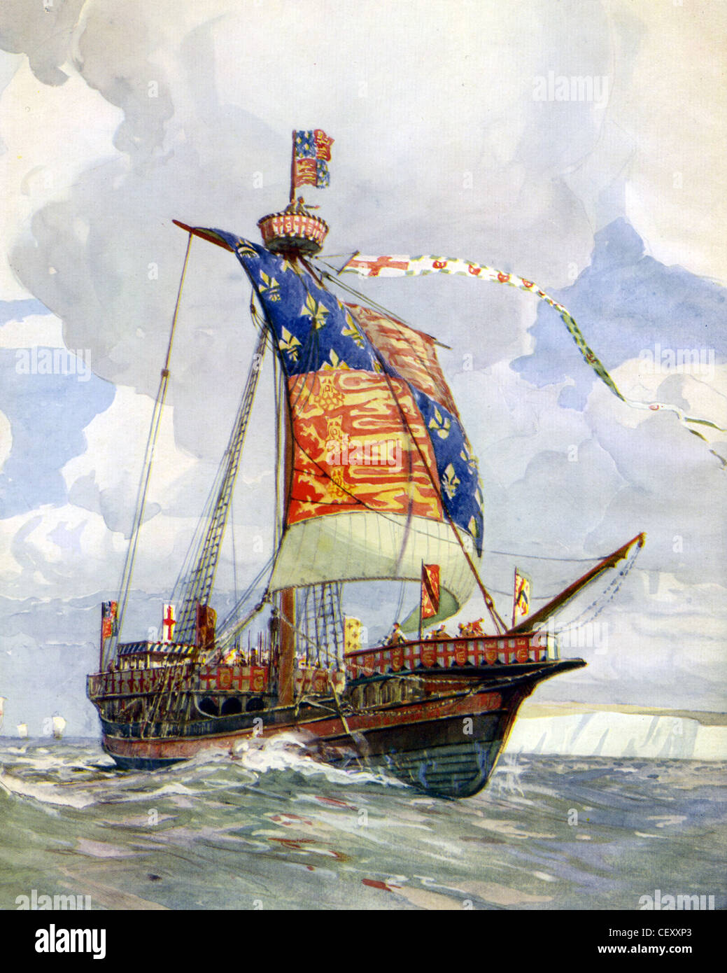 FOURTEENTH CENTURY  English warship painted by naval historian Gregory Robinson - Stock Image