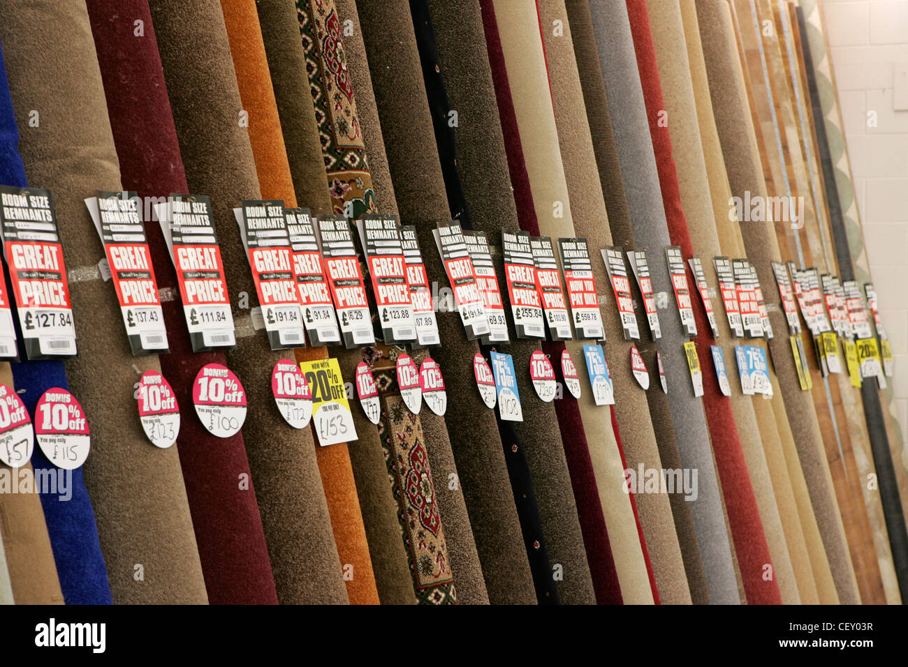 carpets for sale in shop, uk - Stock Image