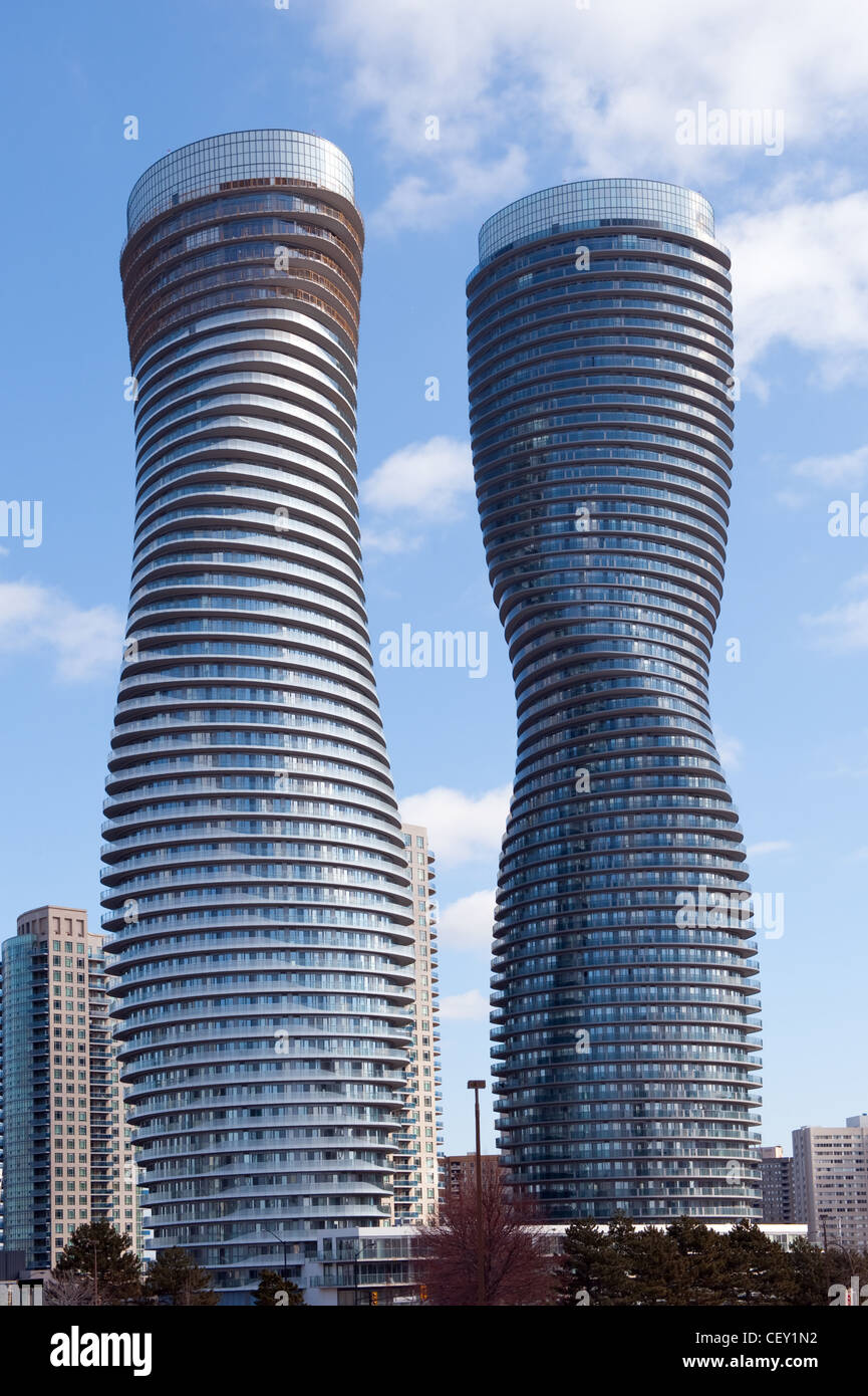The Absolute World condominium Towers in the city center of Mississauga Ontario on a sunny winter afternoon. - Stock Image