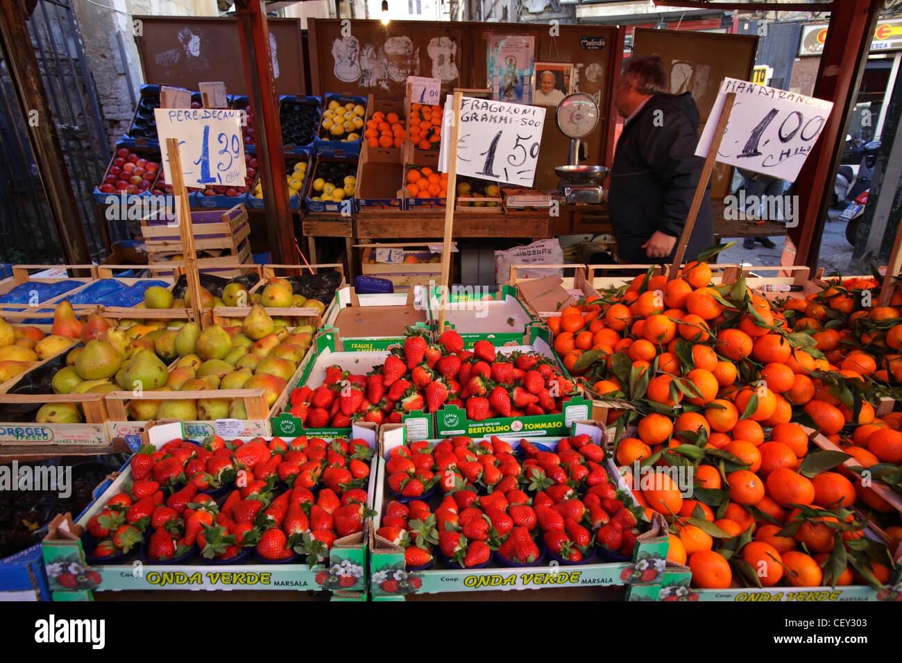 Fruits at Ballarò market, Palermo, Italy - Stock Image