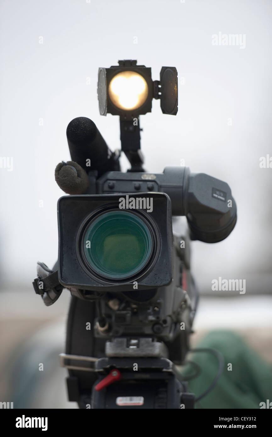 a media coverage camera; newton, manitoba, canada - Stock Image