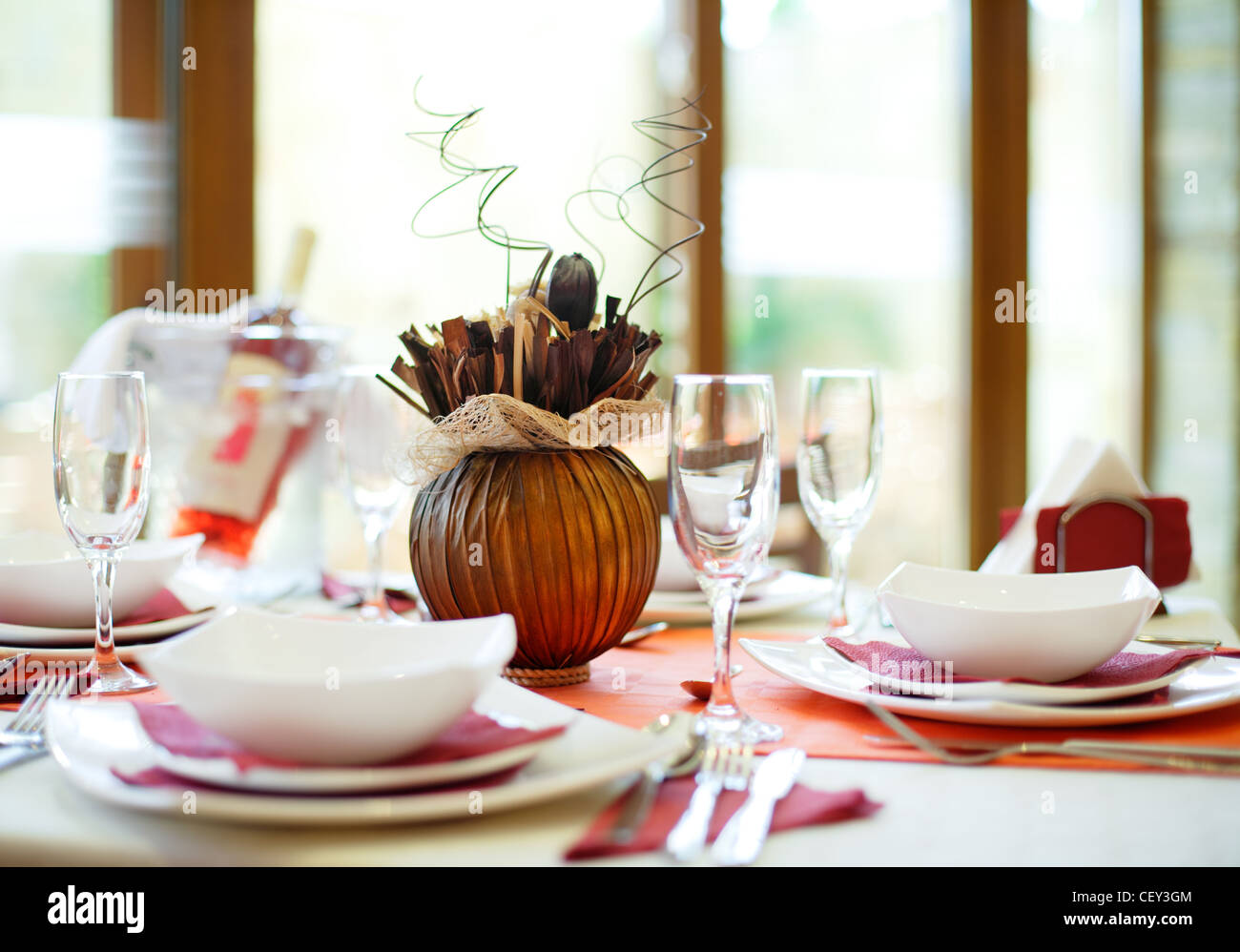 Table setup for official dinner - Stock Image