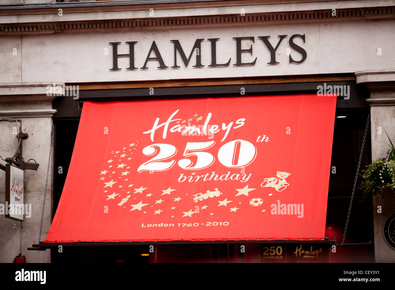 A view of the front of Hamleys toy shop in London on its 250th birthday - Stock Image
