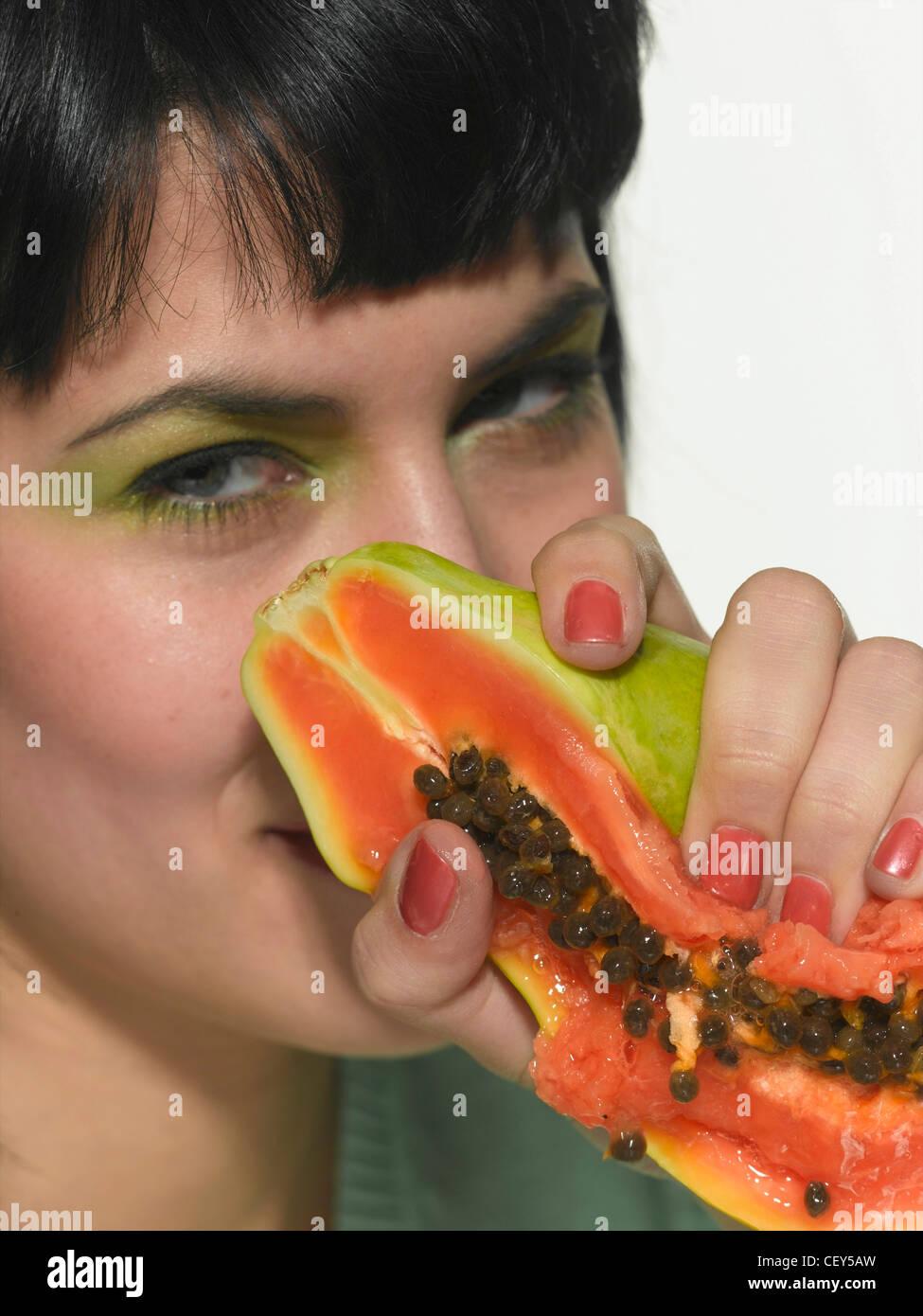 Female dark brunette hair and fringe green eyeshadow