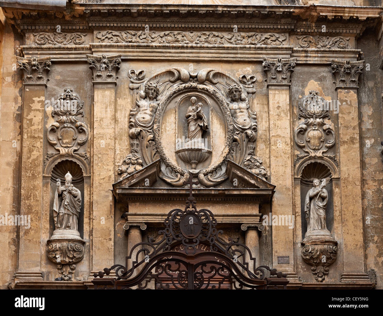 Cathedral facade in Aix en Provence with rich decoration Stock Photo