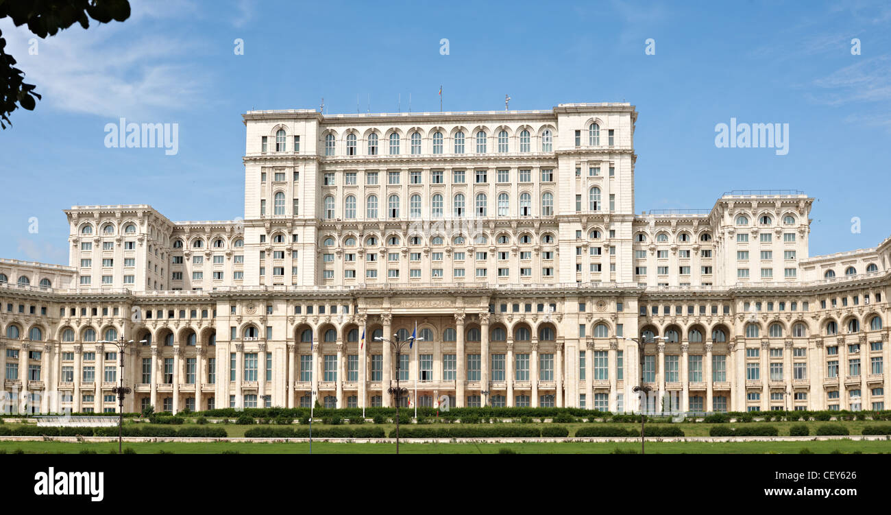 The center part of Romanian parliament, largest building in Europe Stock Photo
