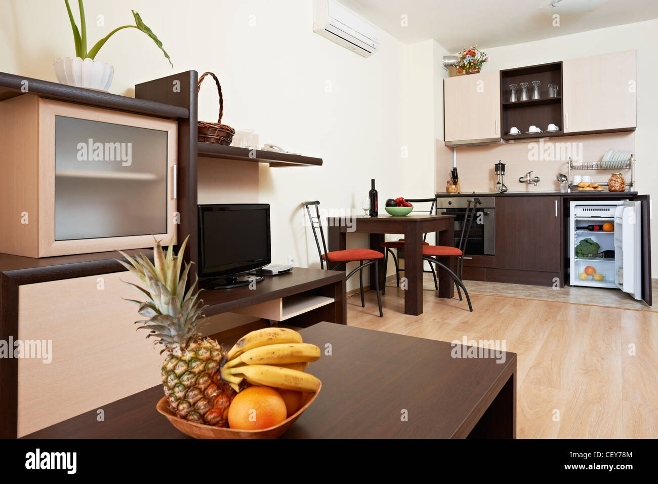 Design And Furniture Example Of Living Room With Kitchen Box In Modern  Apart Hotel