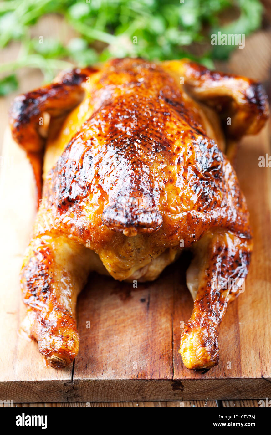 whole roasted chicken - Stock Image