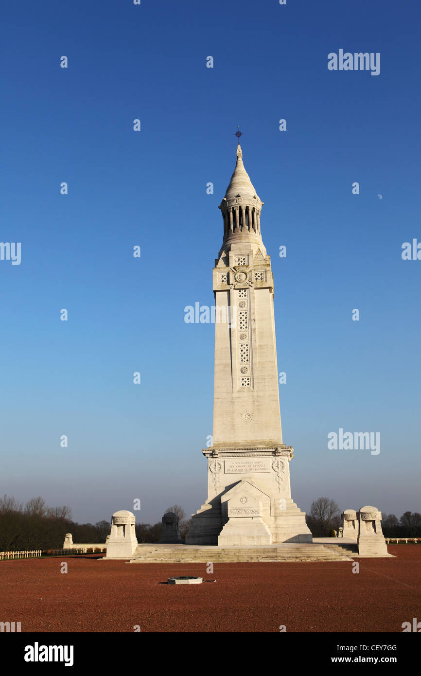 The light tower at the French National War Cemetery at Notre-Dame de Lorette, Ablain-Saint-Nazaire, France. Stock Photo