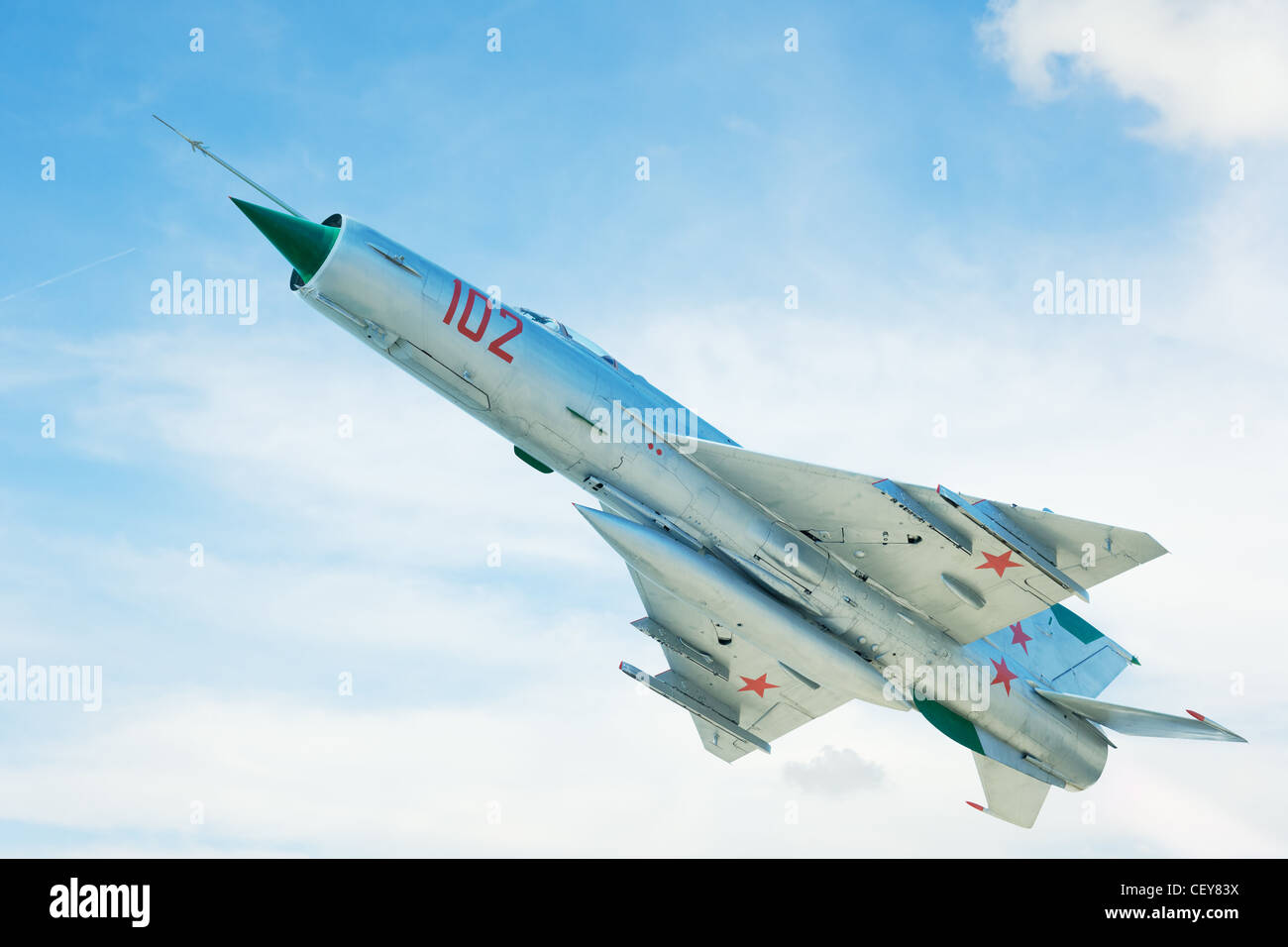 Russian jet airplane fighter in the blue sky - Stock Image