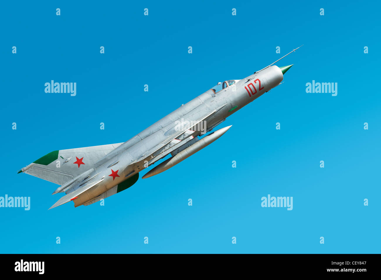 Russian military airplane in the blue sky - Stock Image