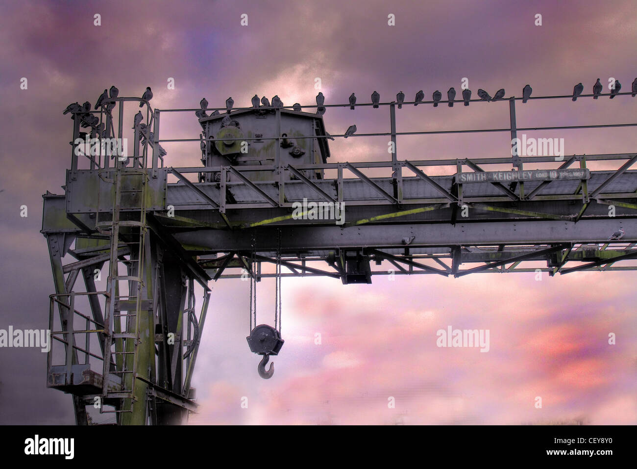 Crane over the Manchester Ship Canal at Latchford Locks, South Warrington, Cheshire, England UK - Stock Image