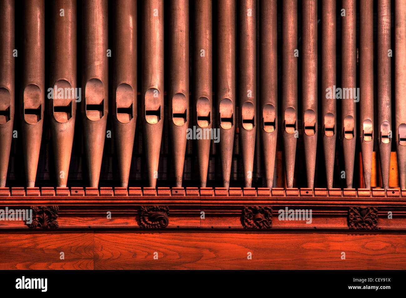 Organ pipes from Details from Middlewich St Michael and All Angels Church CW10 9AN - Stock Image