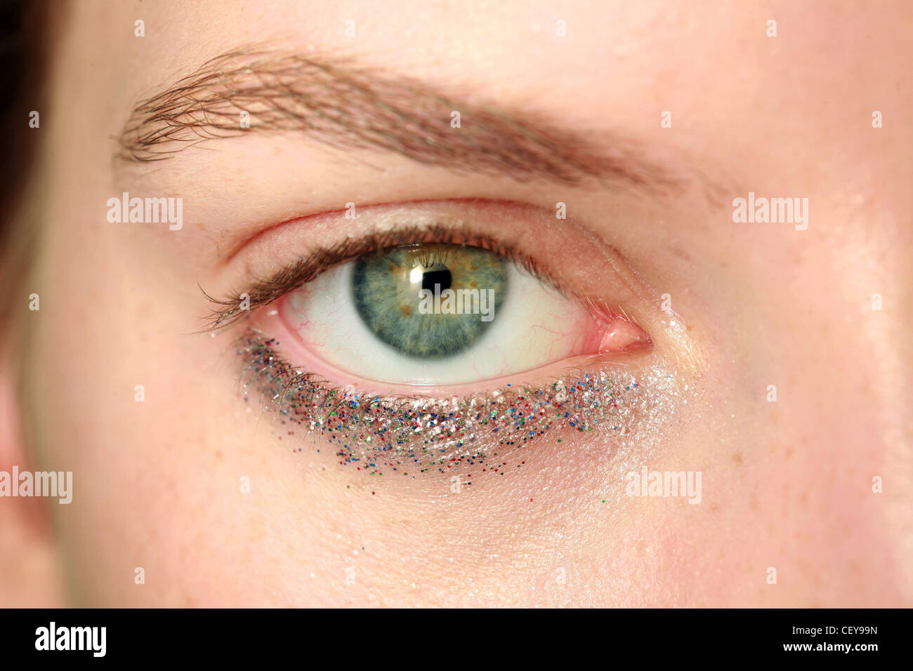 Close Up Multi Coloured Glittery Under Eye Makeup Open Eye Looking