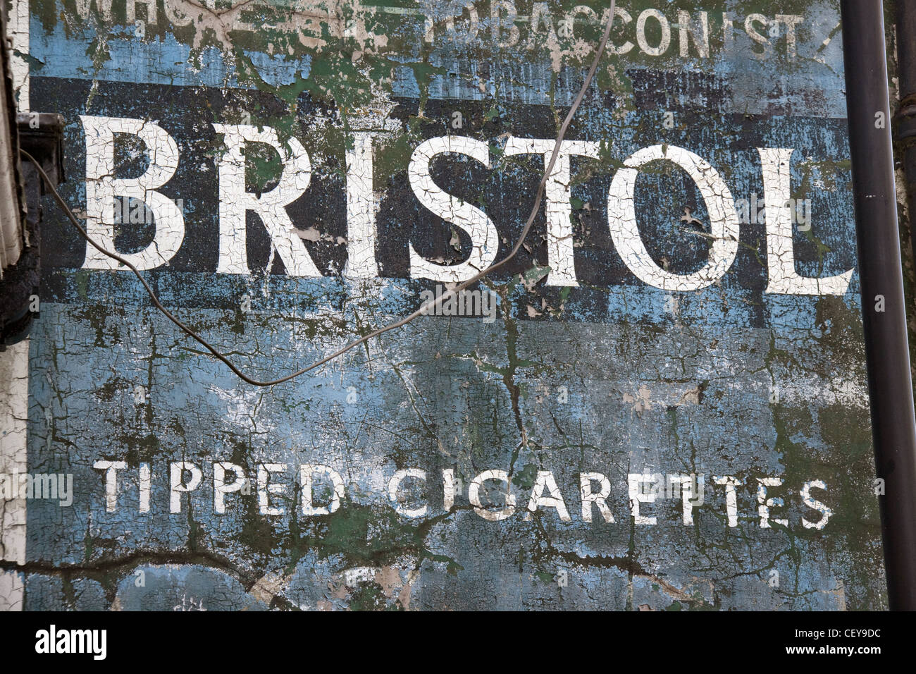 Bristol Tipped Cigarettes wall historic advertisement from Witton Street, Northwich, Cheshire West and Chester , - Stock Image