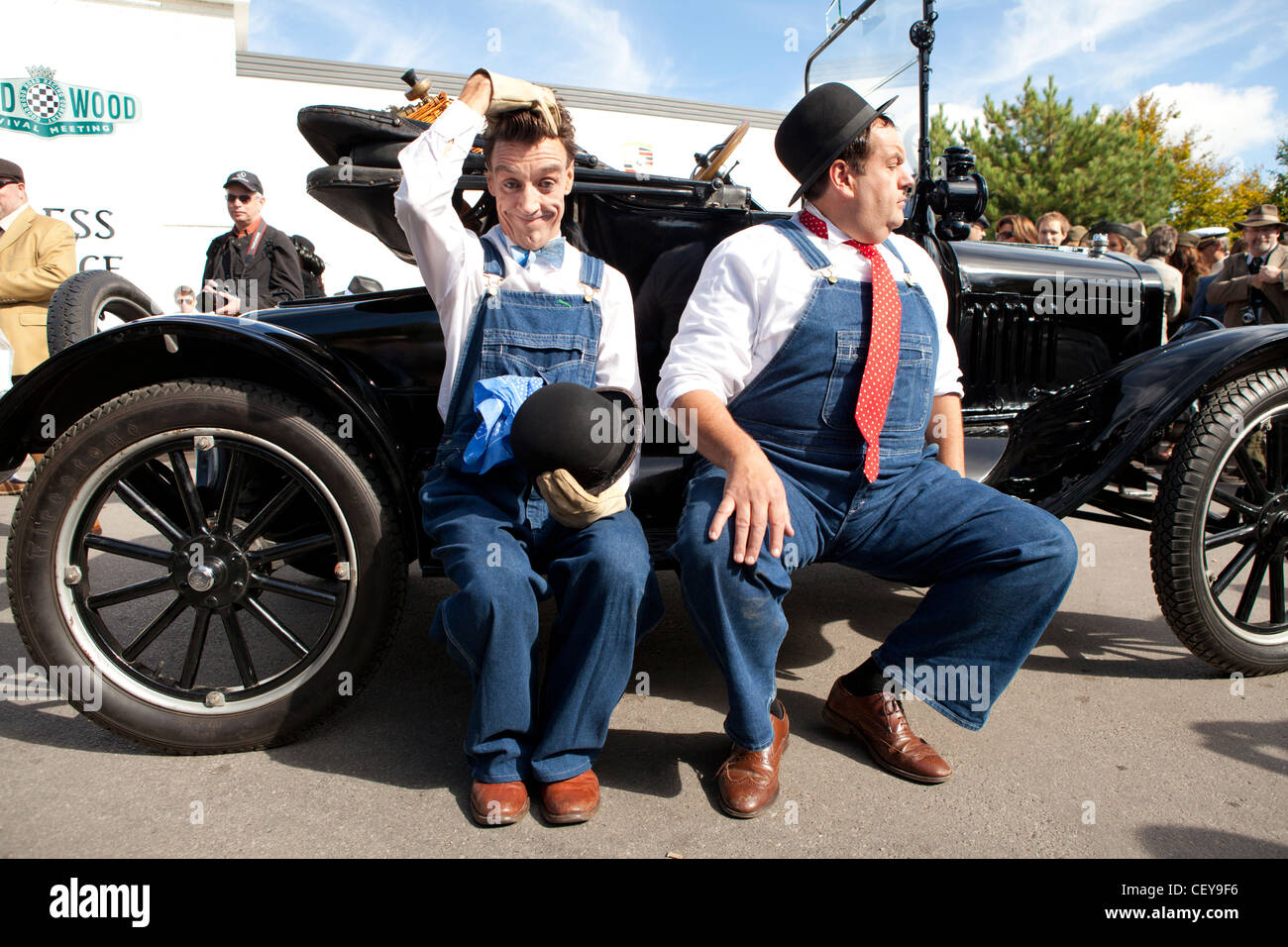 Laurel and Hardy looka likes perform for a crowd at Goodwood revival - Stock Image