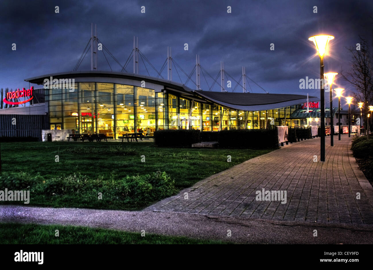 Dusk at Norton Canes Service Area M6 Toll Motorway - Night Shot - Stock Image