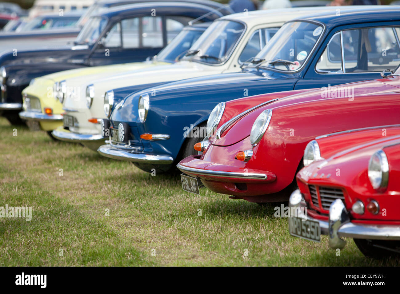 S series of classic cars parked at Goodwood revival - Stock Image
