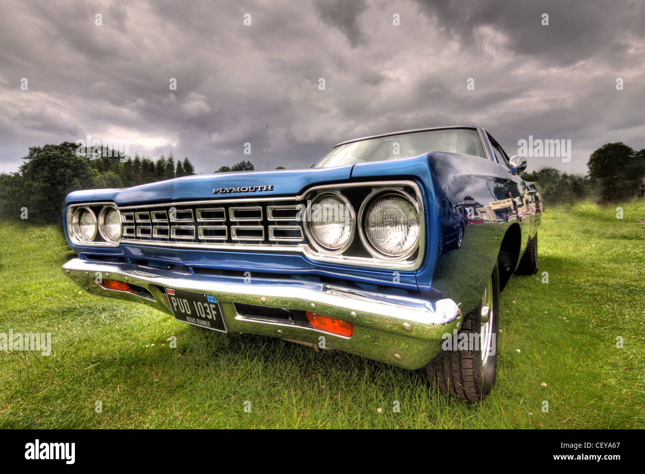 Blue Plymouth American Classic PUD 103F PUD103F car Automobile - Stock Image