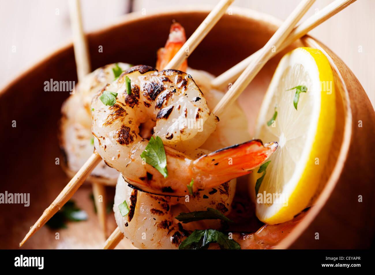 fresh grilled shrimps close up - Stock Image