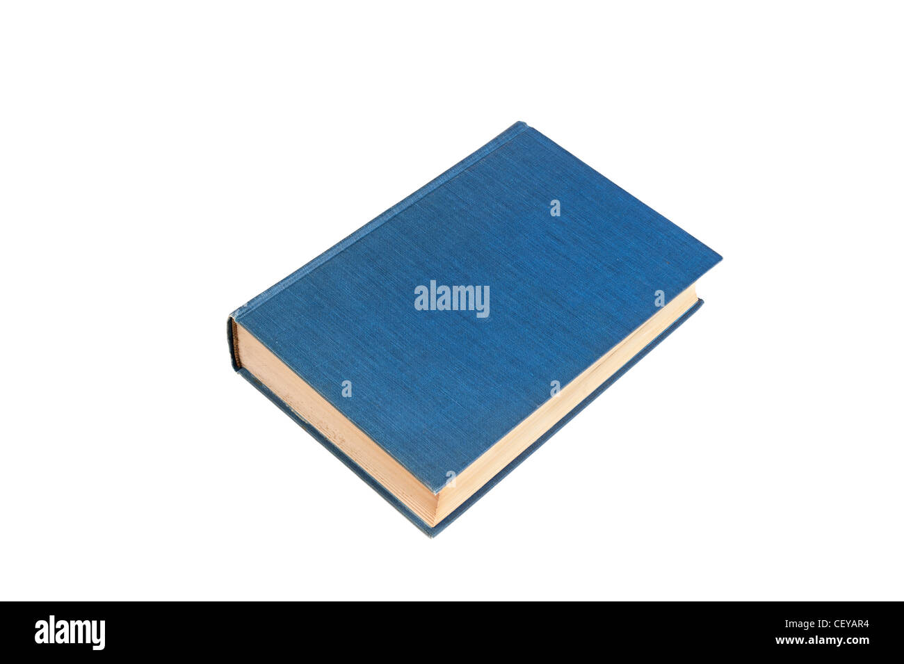 An old, aged blue hardcover book isolated on white. Designers can place copy on the blank cover. - Stock Image