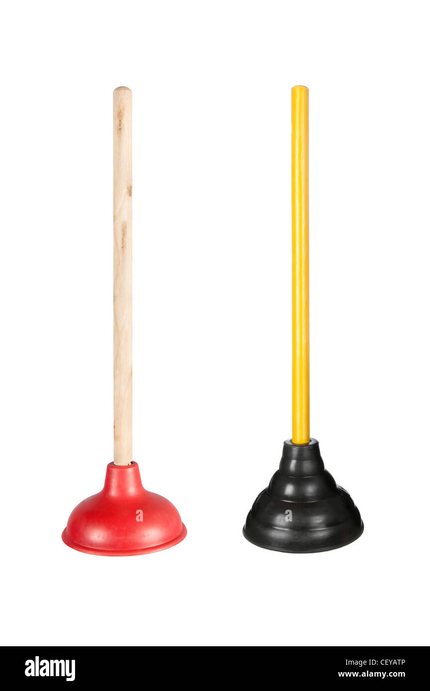 Two toilet plungers isolated on white. These are full resolution images combined into one image (no downsizing) - Stock Image