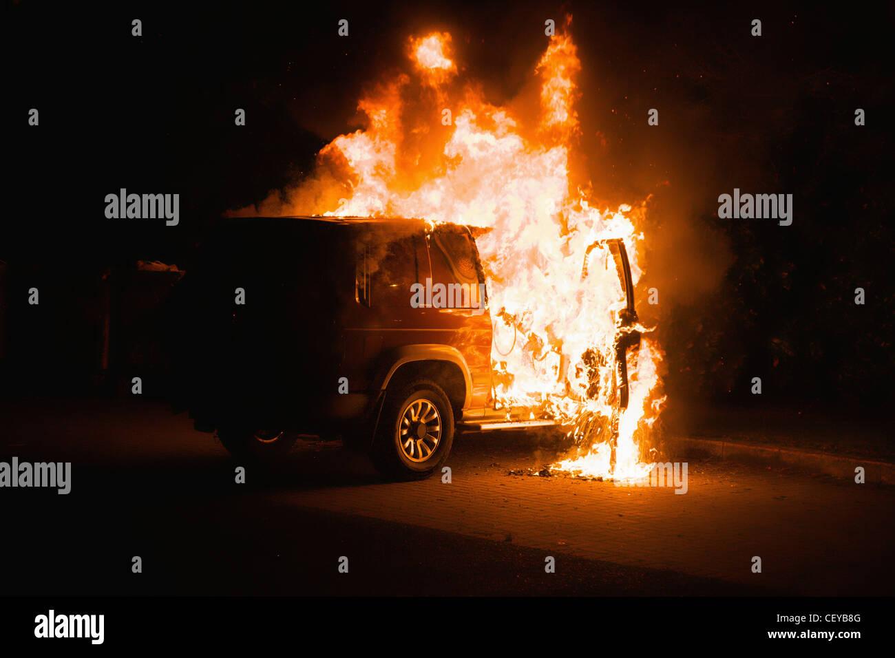a vehicle on fire; dublin dublin county ireland - Stock Image