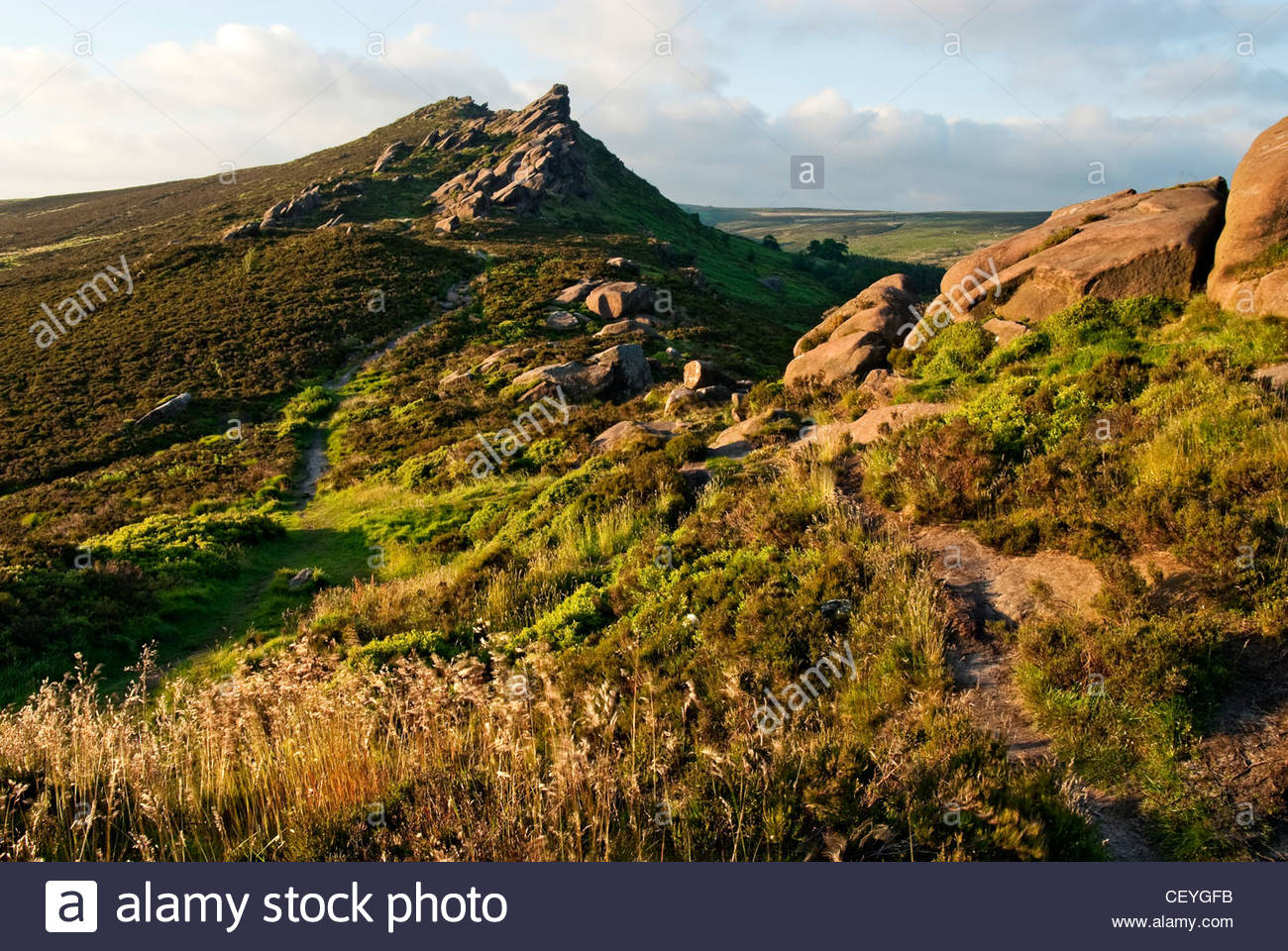 Rock Formation near the Roaches, near Tittesworth Reservoir Peak District of National Park, England. - Stock Image
