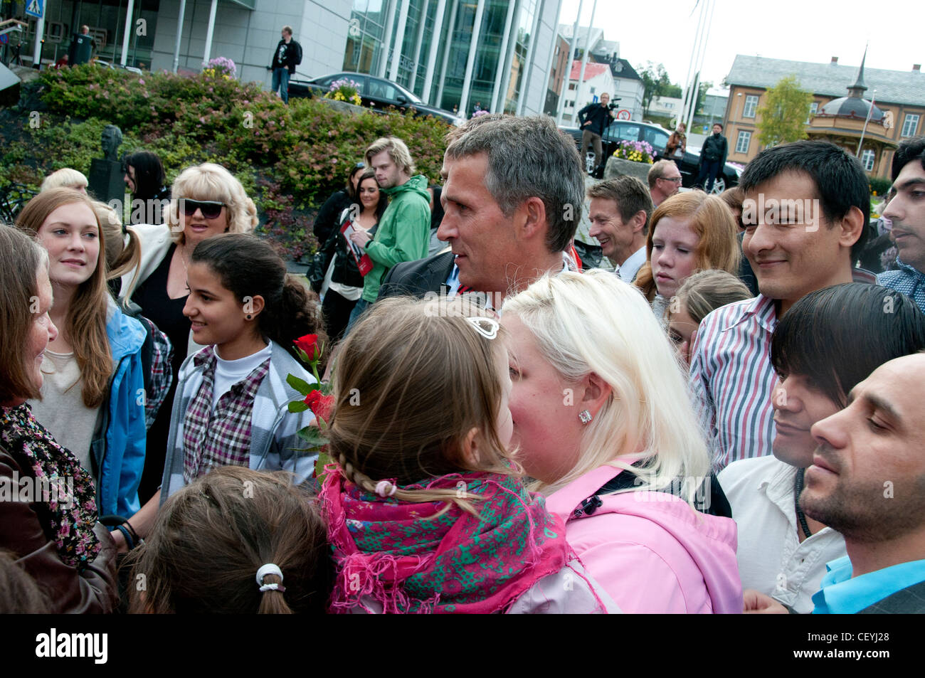 Norway, Tromso.  Prime Minister, Jens Stoltenberg (centre) campaigning prior to elections. Tromso now very ethnically - Stock Image