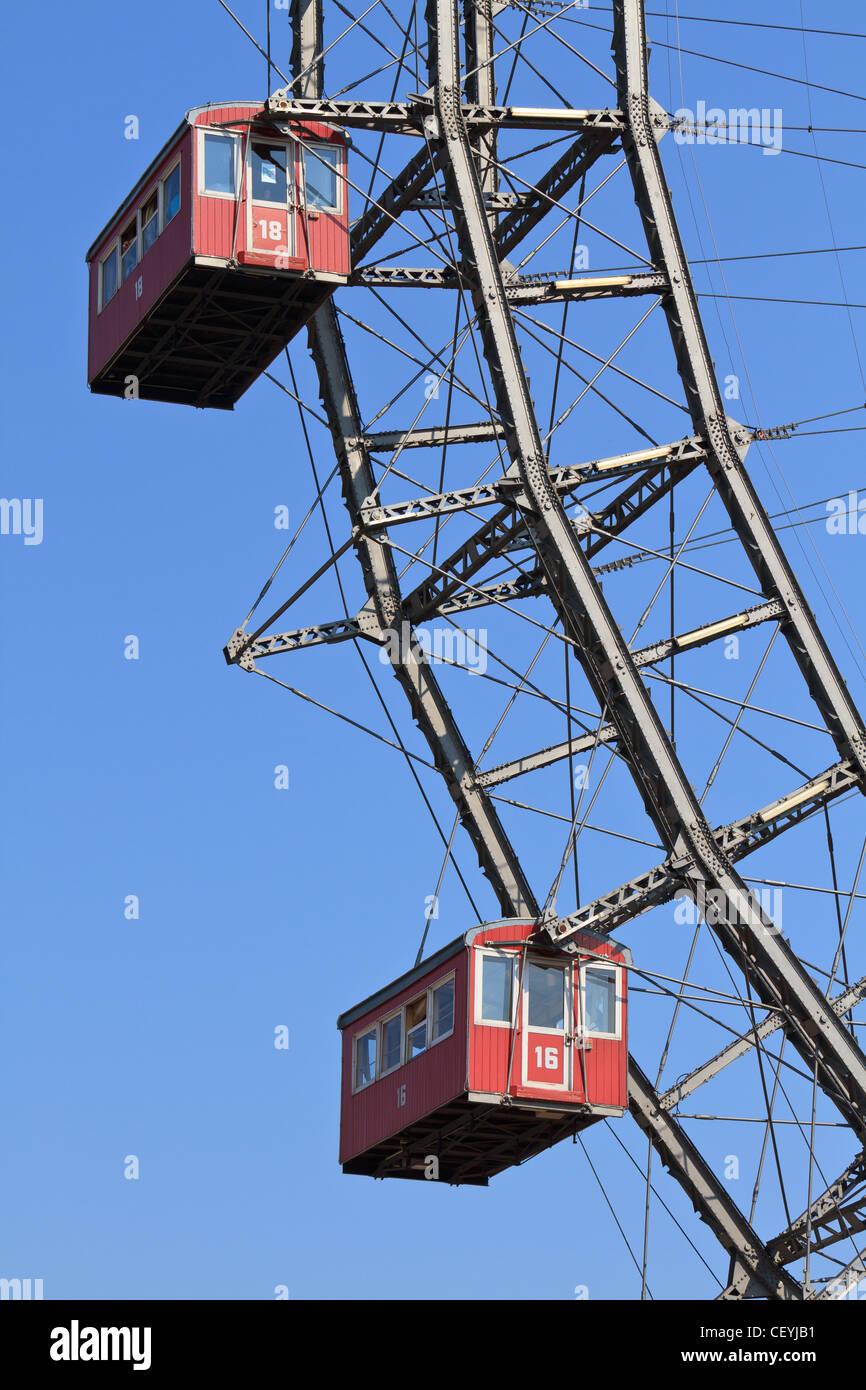 Vienna Giant Ferries Wheel (Riesenrad) in Prater, Austria - Stock Image