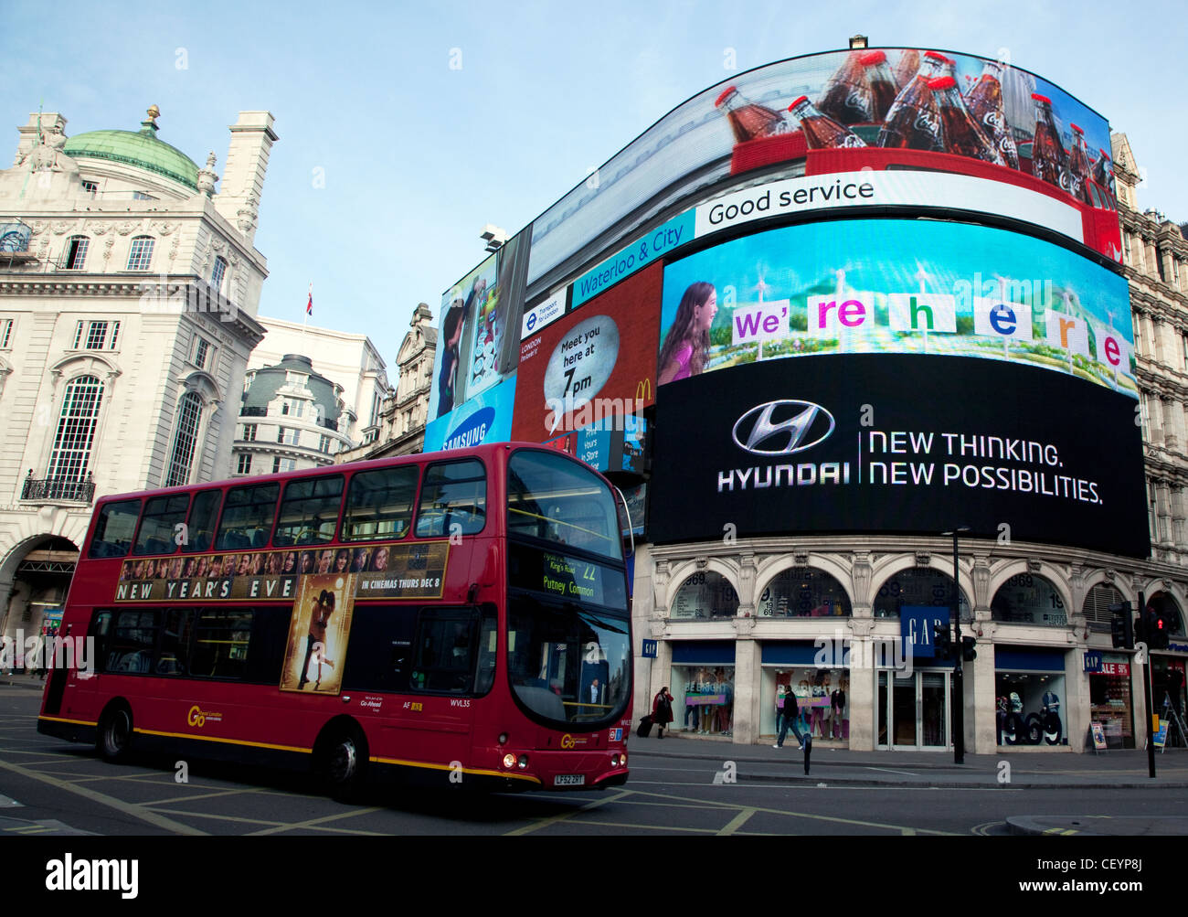 New digital advertising display at Piccadilly Circus, London - Stock Image