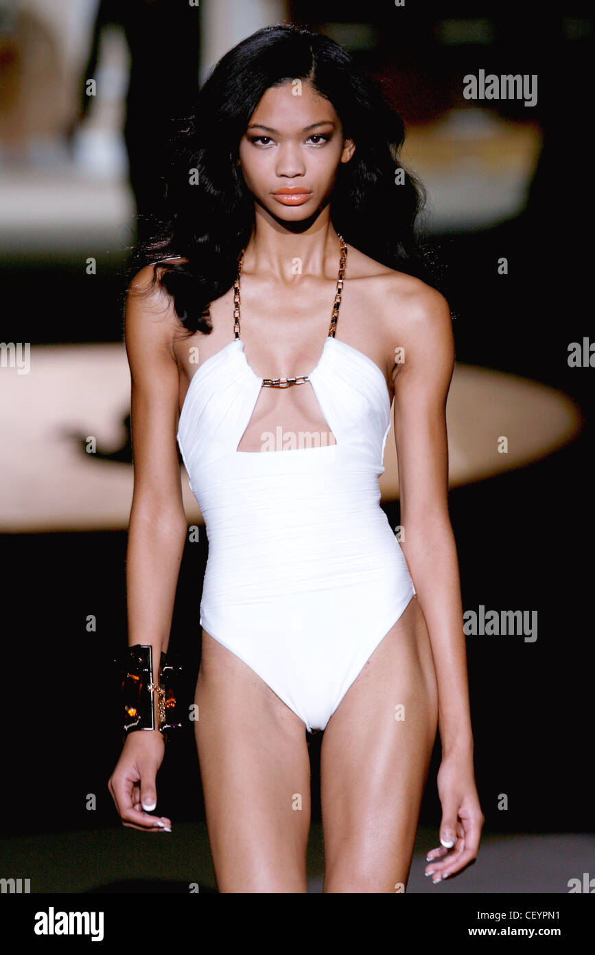 6b9896e924d9 DSquared Milan Ready to Wear Spring Summer American model Chanel Iman  wearing halterneck white swimsuit with