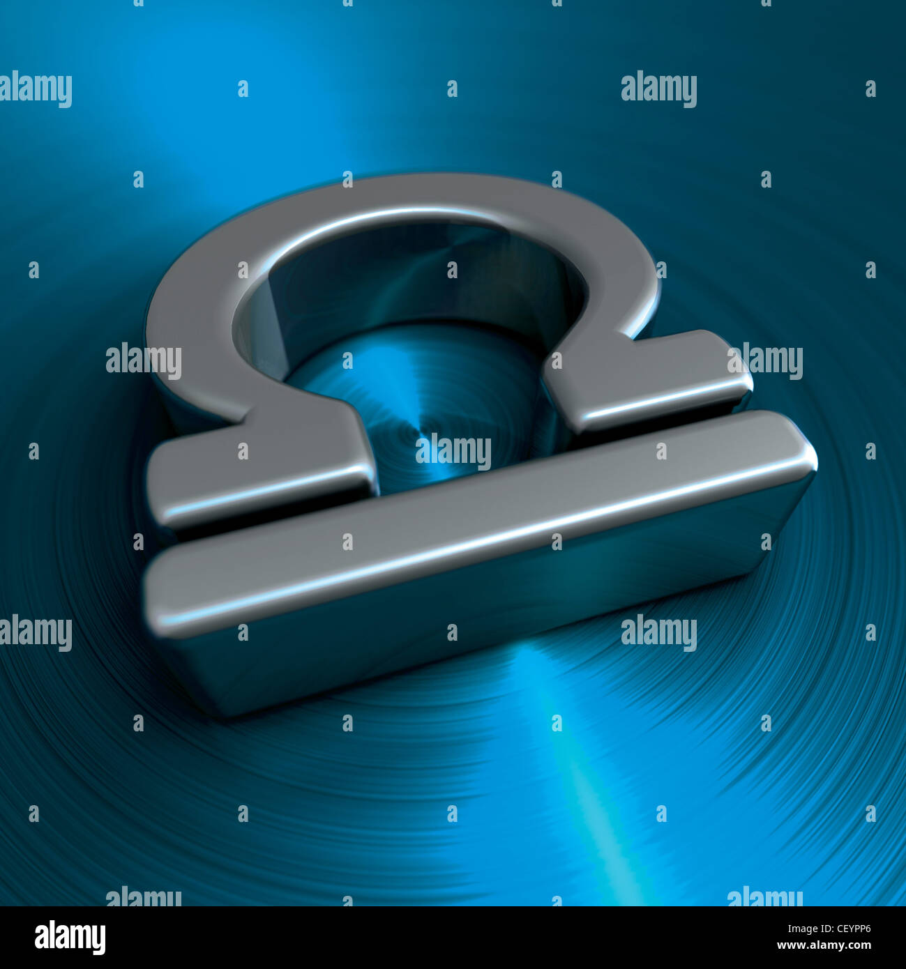Horoscope Glyphssilver Libra Symbol On A Blue Colour Background