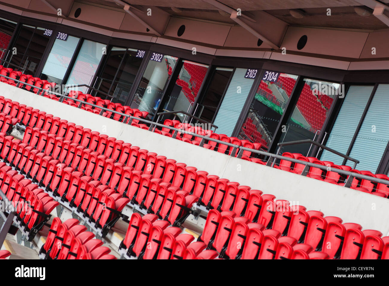 Corporate Hospitality Boxes at a football stadium representing all that is wrong with modern football. - Stock Image