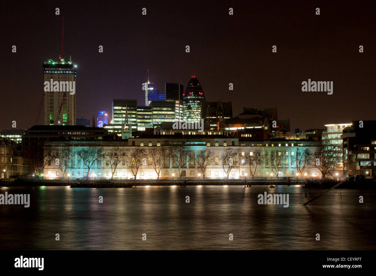 Custom House overlooking the river Thames in London. - Stock Image