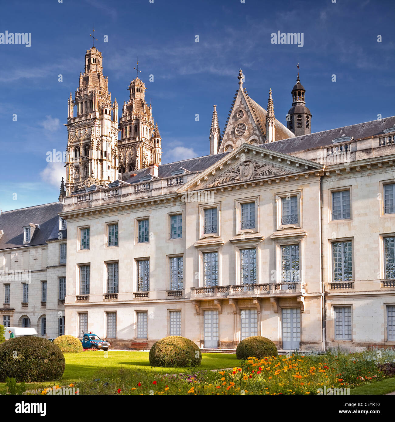 The gardens of the musee de beaux arts or museum of fine arts, Tours, Indre-et-Loire, France, within the UNESCO Stock Photo