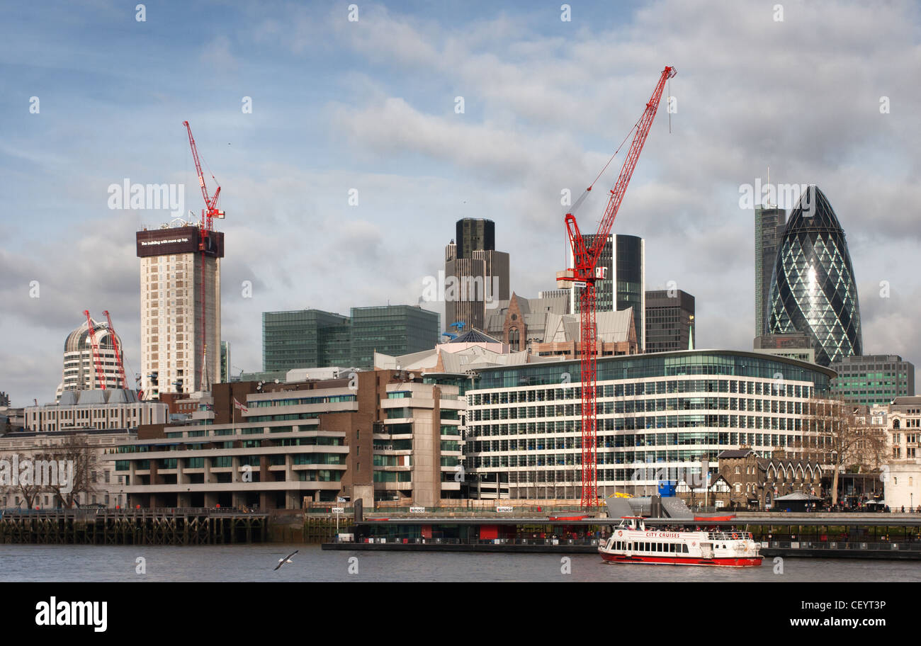 Construction work in London across the Thames - Stock Image