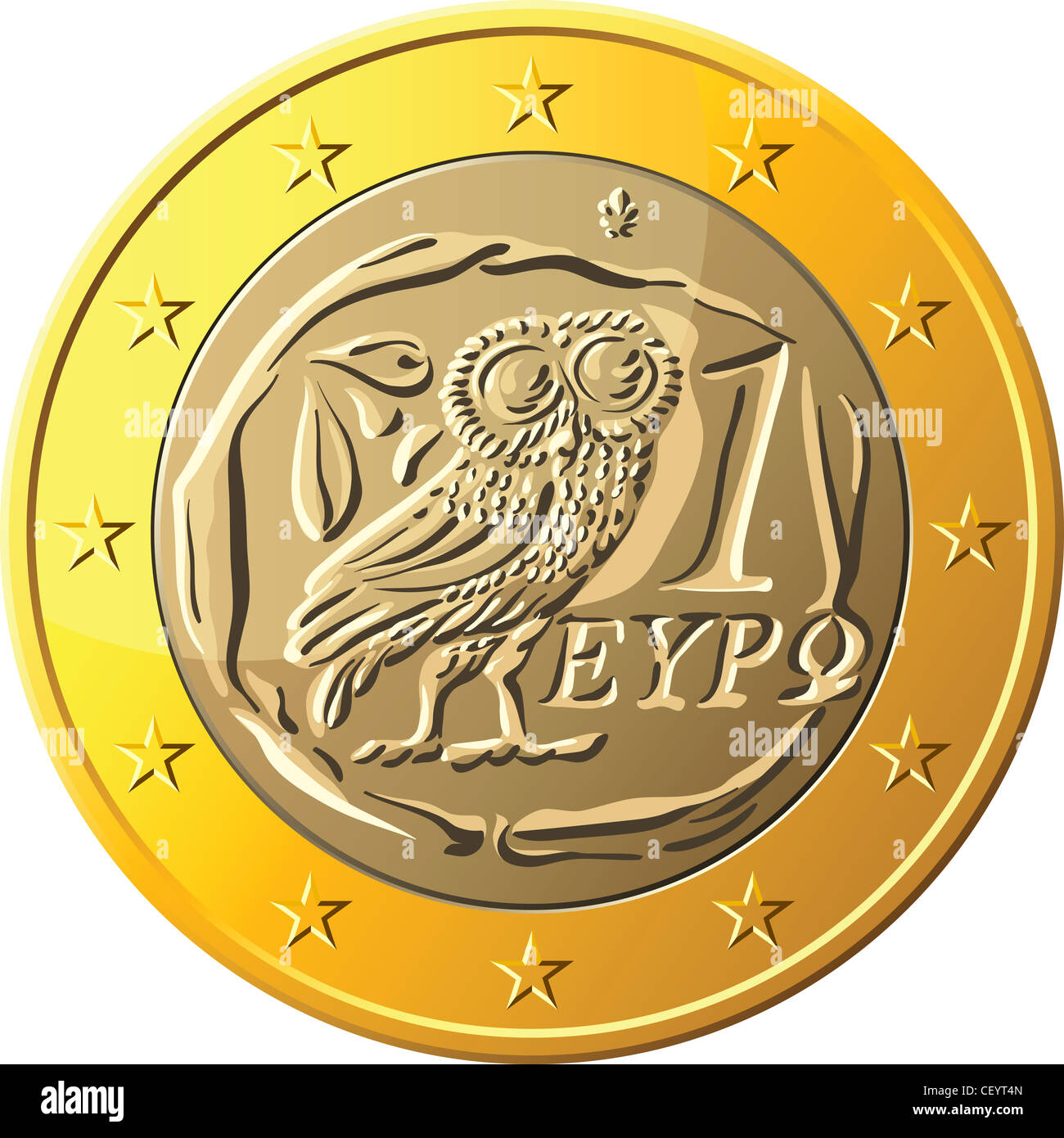Greek money gold coin euro with the image of an owl - the emblem of Pallas Athena, a symbol of wisdom and the olive - Stock Image