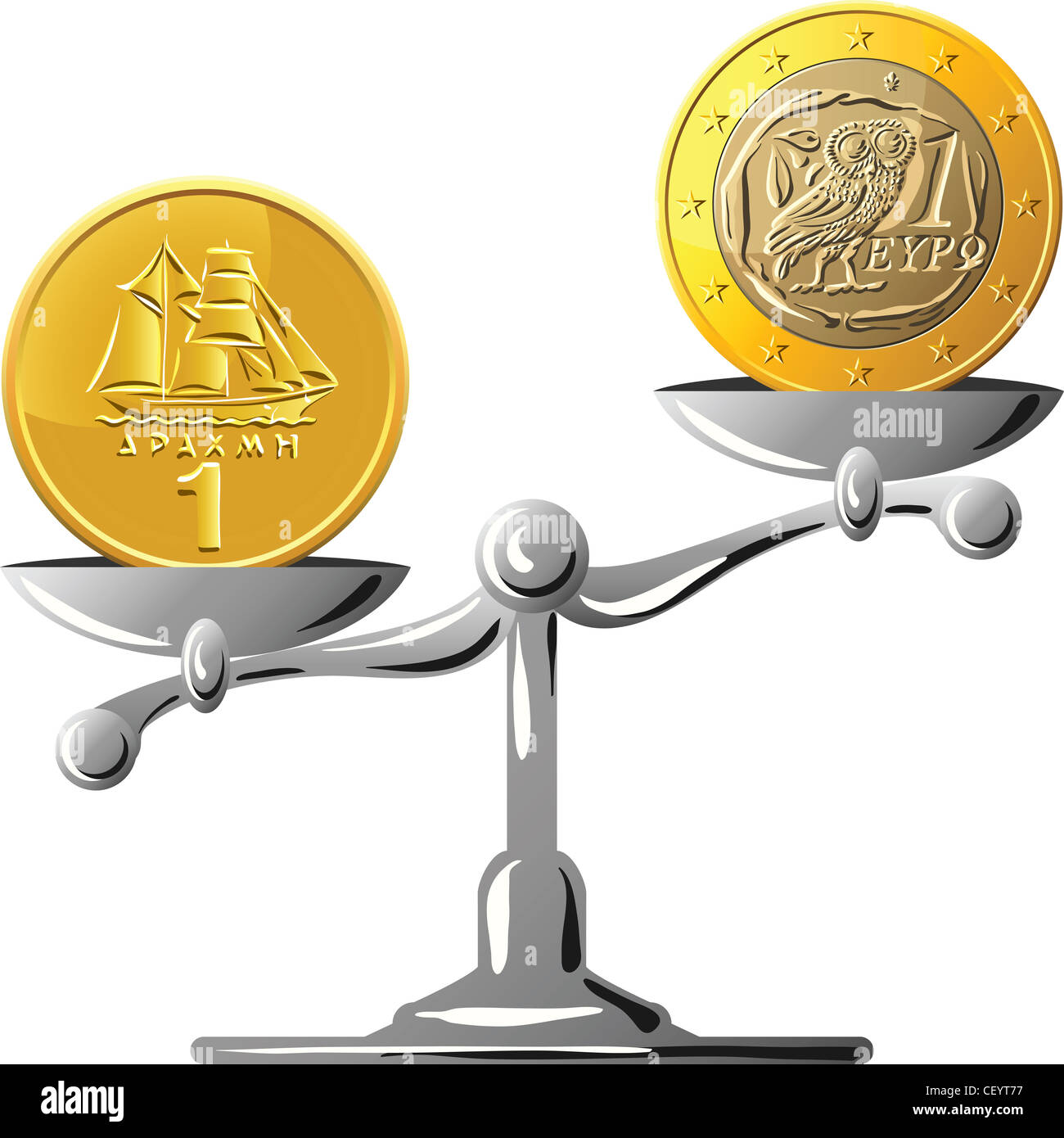 concept of an old Greek drachma coin and coin euro on the gold scales - Stock Image