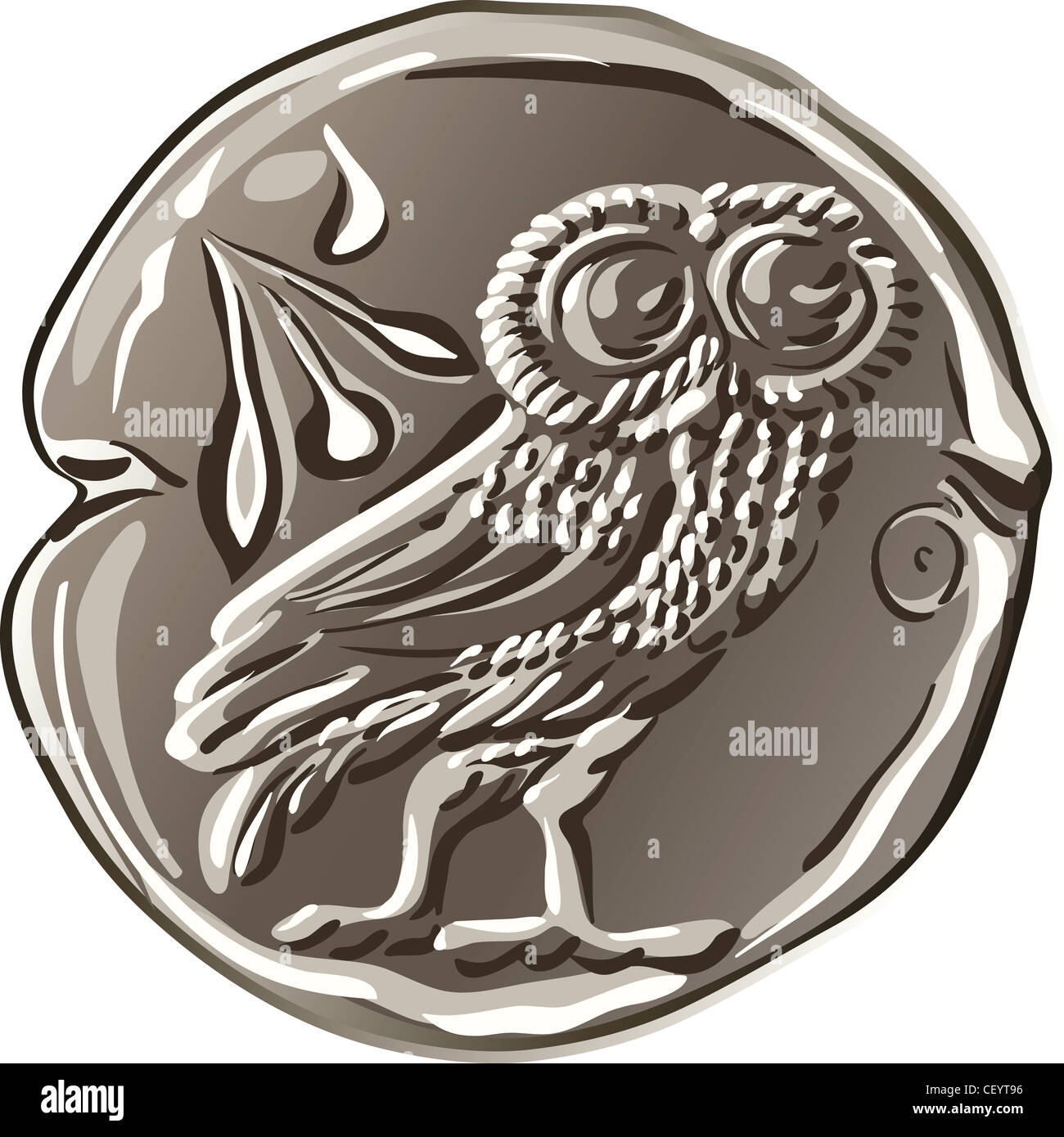ancient Greek drachma money silver coin with the image of the owl and olive - Stock Image