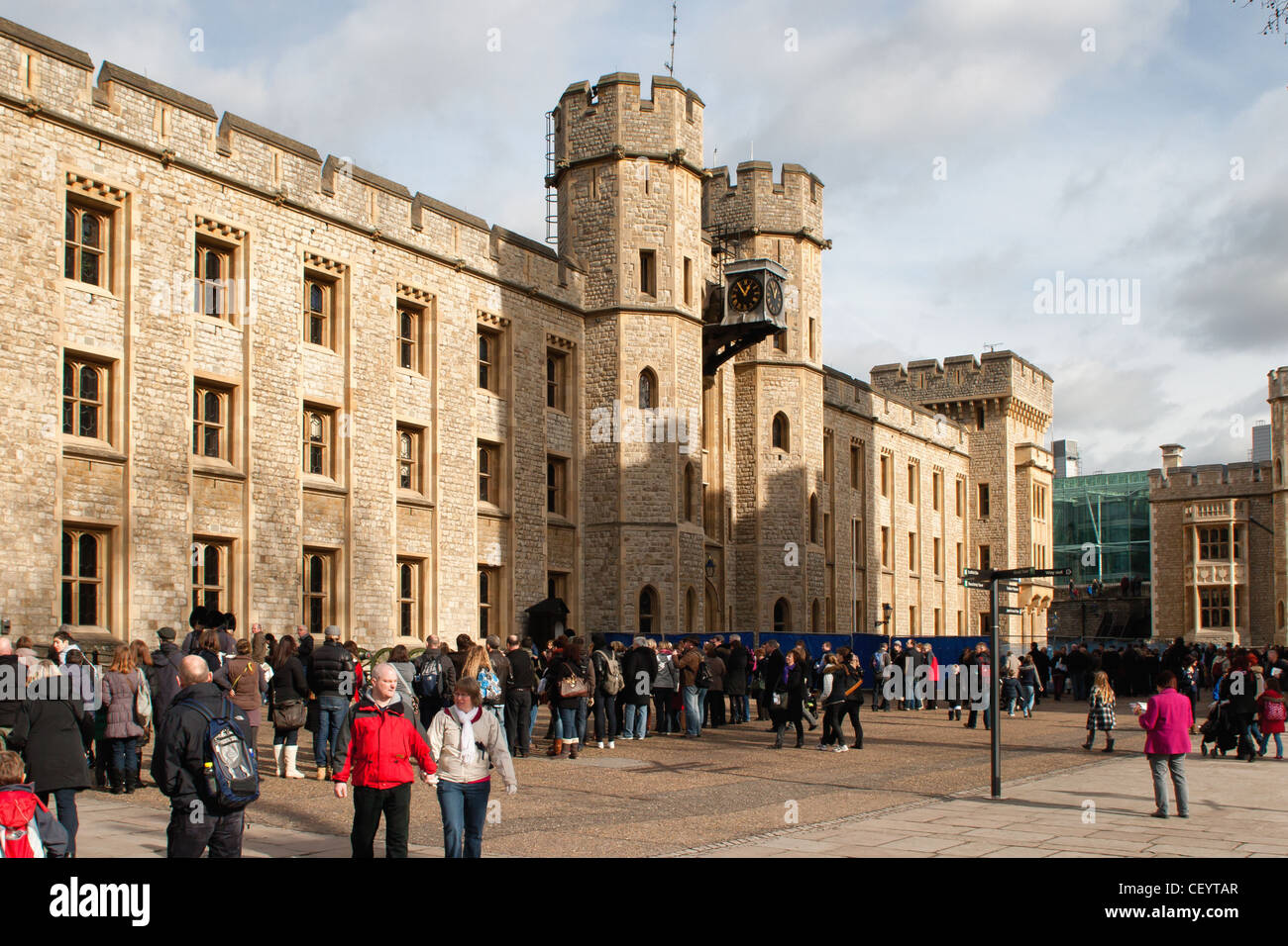 People queing to see the Crown Jewels outside the Jewel House in the Tower of London Stock Photo