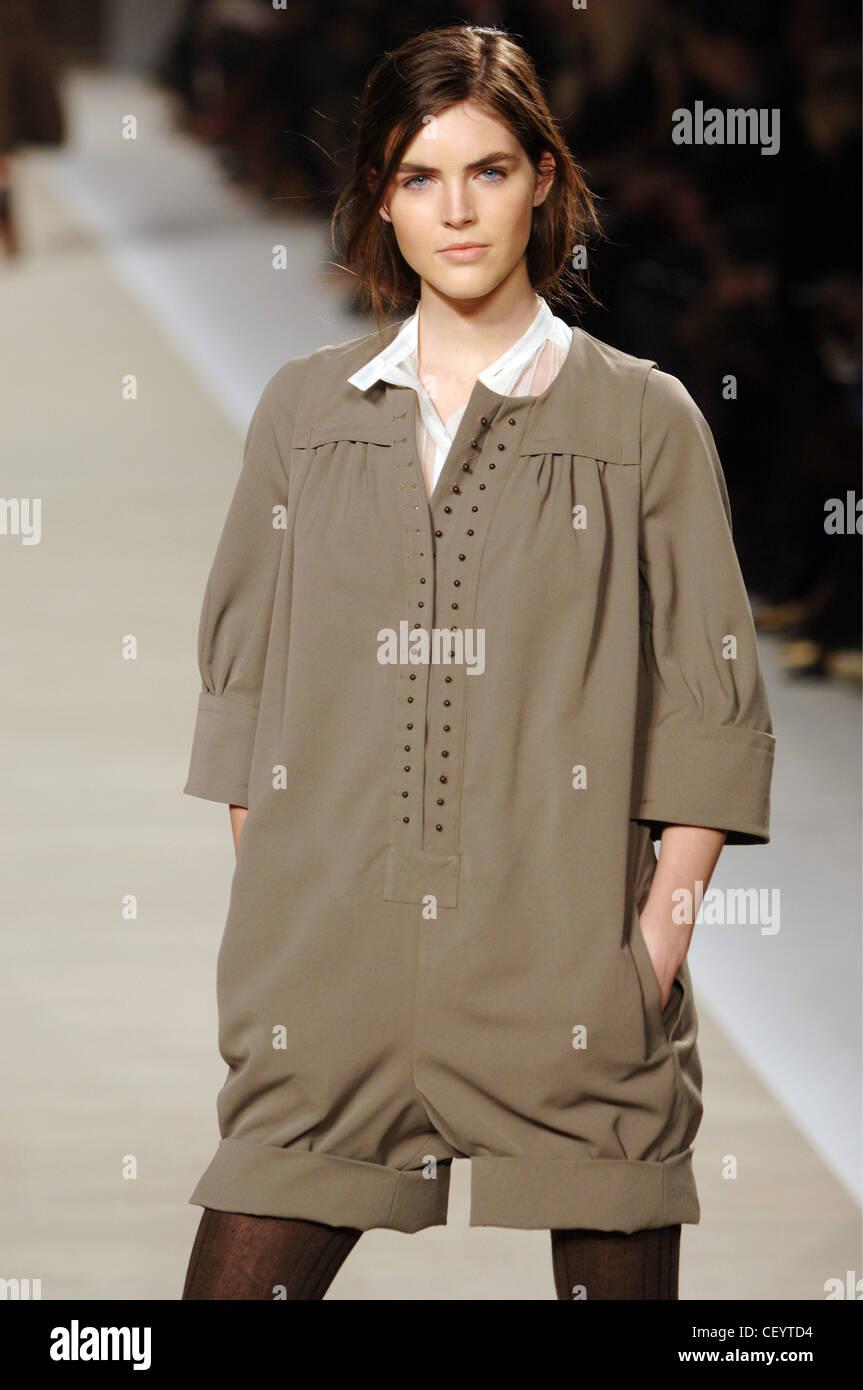 3fc201d439c6 Chloe Ready to Wear Paris A W Brunette female model wearing a tan loose  fitting jumpsuit shorts