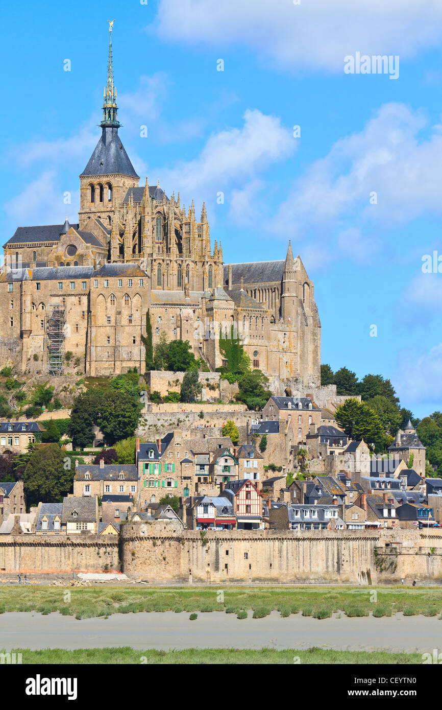 Mont Saint Michel Abbey, Normandy / Brittany, France - Stock Image