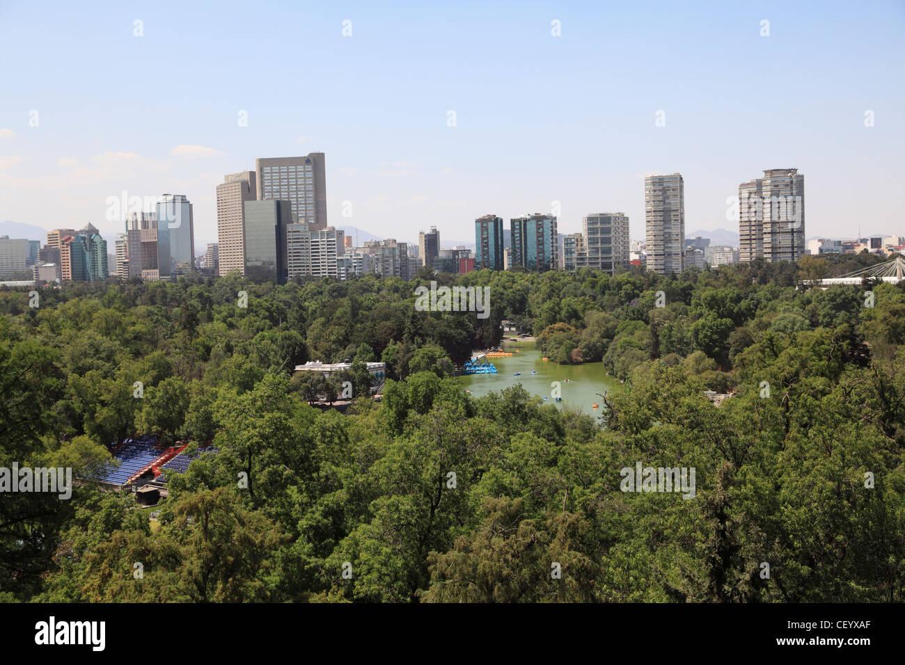 Polanco, Skyline, Chapultepec Park, Chapultepec, Mexico City, Mexico - Stock Image