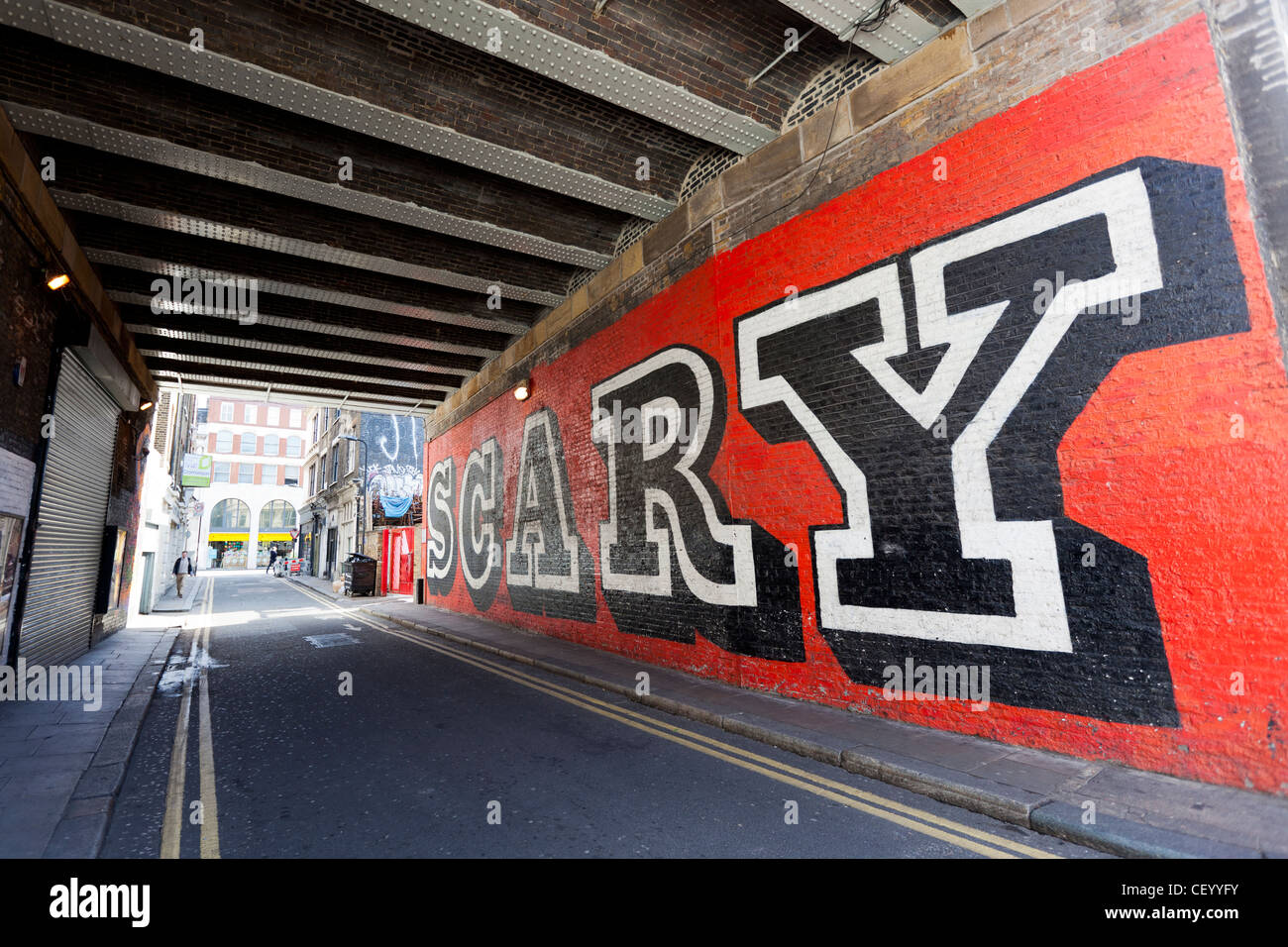 SCARY Street Art by Ben Eine, Rivington Street , Shoreditch, London, England, UK. - Stock Image